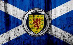 Download wallpapers Scotland national football team, 4k, logo, grunge, Europe, football, stone texture, soccer, Scotland, European national teams