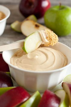 Simple dip to try: 2  8oz. pkgs. cream cheese Beat until fluffy, add 1 cup Hershey's caramel ice cream topping.  Dip apple slices into cheese combo, then into finely crushed graham cracker crust.  VOILA!!!!