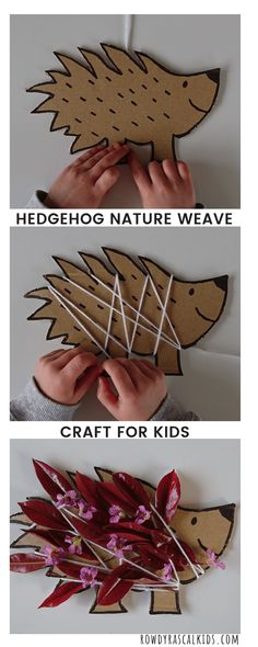 Easy cardboard craft with yarn and nature weave; great for fine motor practice i is part of Kids Crafts With Yarn - Easy cardboard craft with yarn and nature weave; great for fine motor practice in preschoolers Forest Crafts, Hedgehog Craft, Weaving For Kids, Dinosaur Crafts, Country Crafts, Camping Crafts, Camping Tips, Art Plastique, Preschool Crafts