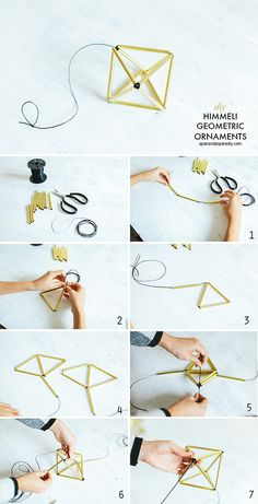 *With directions* - These elegant DIY Himmeli Christmas ornaments are traditional decorations from Finland. They are simple, have clean lines, and are non-denominational ornaments to add to the Christmas tree this holiday season. Mason Jar Crafts, Mason Jar Diy, Crafts To Sell, Diy And Crafts, Deco Nature, Christmas Crafts, Christmas Ornaments, Christmas Tree, Diy Gifts