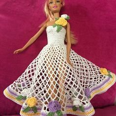 Watch The Video Splendid Crochet a Puff Flower Ideas. Phenomenal Crochet a Puff Flower Ideas. Crochet Barbie Clothes, Doll Clothes Barbie, Crochet Dolls, Knit Crochet, Crochet Puff Flower, Crochet Flower Patterns, Crochet Flowers, Barbie Gowns, Barbie Dress