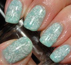 seafoam stamped with white swirly patterns!