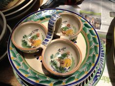 New rooster ceramic dishes by Gorky Gonzalez. This triple dish is great for dips, spices, and more. #Mexico #pottery #ceramics