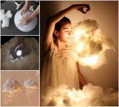 DIY LED Cloud Light  I know a little girl who will love these Em.  Well two probably