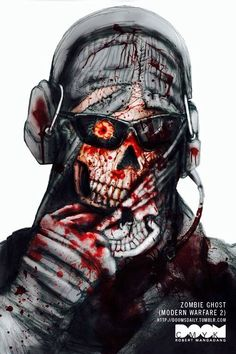Zombie Ghost from Call of Duty Modern Warfare part of my Zombies in October series back in 2010 Military Love, Military Gear, Military Outfits, Call Of Duty Warfare, Call Off Duty, Ghost Soldiers, Call Of Duty Zombies, Foto Top, Zombie Art