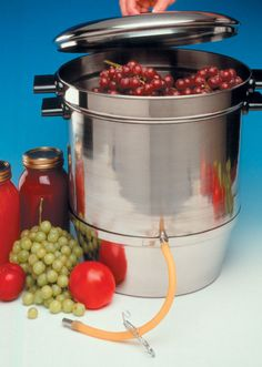 Canning Equipment & Supplies - Norpro Food Strainer Back to Basics Aluminum Steam Juicer Victorio Steamer/Juicer Back to Basics Cherry Stone. Steam Juicer, Bosch Mixer, Canning Equipment, Best Juicer, Organic Fruit, Specialty Appliances, Delicious Fruit, Canning Recipes, How To Make Bread