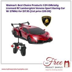 Walmart: Best Choice Products 1/24 Officially Licensed RC Lamborghini Veneno Sport Racing Car W/ 27MHz for $17.95 (List price $39.99)