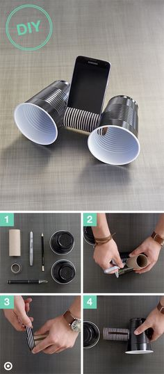 Any easy way for great dorm room sound? A DIY speaker system! Step Gather supplies: 2 plastic cups, a toilet paper roll, Washi tape, Xacto knife and a Sharpie. Step Trace the toilet paper roll on each cup and cut out with the Xacto knife. Diy Phone Stand, Diy Phone Holders, Iphone Holder, Fun Crafts, Diy And Crafts, Craft Projects, Projects To Try, Diy Cadeau, Diy Speakers