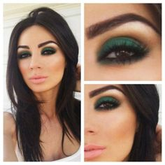 Green eyeshadow, make-up, smoky eye. I have blue green eyes. This would probably look great on me. Beauty Make-up, Beauty Hacks, Hair Beauty, Beauty Tips, Beauty Products, Beauty Zone, Beauty Quotes, Beauty Trends, Beauty Secrets