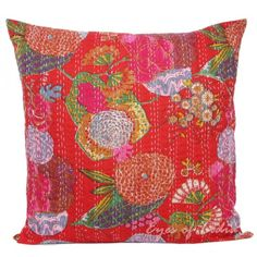 24 large red floral kantha throw pillow cushion cover 6102 eyes of india