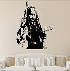 Jack Sparrow Wall Decal Jack Sparrow Vinyl Sticker Pirate Wall - Custom made vinyl wall decals   how to remove