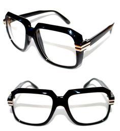 7a5e444a947 Men s Vintage 607 Clear Lens Eye Glasses RUN DMC Hip Hop Polished Black  Silver  Stars  Square