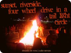 sunset, riverside, four wheel drive in a tail light circle. luke bryan
