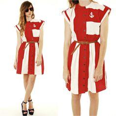 Color Block Nautical Anchor Dress