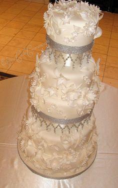 Flowers & Crystals Wedding Cake 2 by Elegant Cake Creations AZ, via Flickr