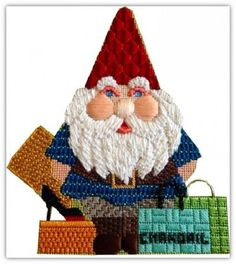 #shopping  #gnome stitched by Chandail Needlework, Houston Texas