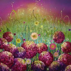 Leanne Christie  Flowerscapes Art Glitter Oil Original Alliums Hydrangeas