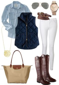 | STYLED | Blue J.Crew chambray shirt, Eddie Bauer vest, Gap white skinny jeans, gold cross necklace, HOH locket pendant, rose-gold Citizen watch, Hermes cuff, Ray-Ban aviator sunnies, Salvatore Ferragamo brown boots