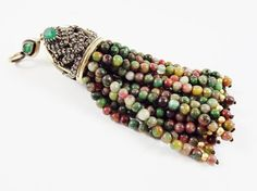 Large Long Autumn Colored Green Flower Jade Stone by LylaSupplies, $27.00