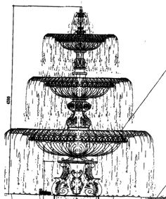 how to draw a water fountain step by step