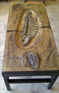 Scott C. Damschroder/artist,  concrete table, fossil at makersgallery.com  WHAT AN ARTIST!!! AMAZING!!!!!