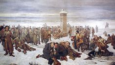 Farewell to Europe, by Aleksander A Sochaczewski. The artist himself is among the exiled here, near the obelisk, on the right. - January Uprising - Wikipedia, the free encyclopedia Invasion Of Poland, Folk, Crimean War, Seven Years' War, Afghanistan War, Science Fiction Books, Sci Fi Books, Red Army, Napoleonic Wars