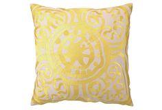 Medallion 20x20 Linen Pillow, Yellow on OneKingsLane.com