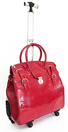 """21""""computer/laptop Carry Bag Tote Duffel Rolling 4wheel Spinner Luggage Croc Red Trendyflyer Collection http://www.amazon.com/dp/B00L3OA7CI/ref=cm_sw_r_pi_dp_dFsivb082HEV4"""
