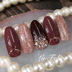 Winter / Valentinstag / Weihnachten / Dating / Hand-Der Name von Lu Felice - My CMS Holiday Nails, Christmas Nails, Love Nails, My Nails, Shellac Nails, Nagel Bling, Japanese Nails, Nagel Gel, Fabulous Nails