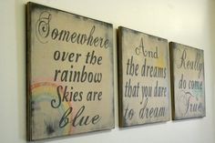 Somewhere Over The Rainbow Sign Vintage Shabby Chic Rustic Nursery Decor Handmade Handpainted Sign Childrens Room Decor
