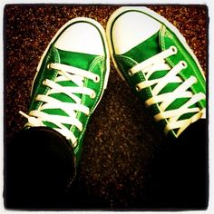 Fashion Muse: My Green Converse Green Converse, Chuck Taylor Sneakers, Chuck Taylors, Comme, Me Too Shoes, Muse, Fashion, Ballet Flats, Ankle Boots