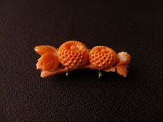 Coral Carved Flower Vintage OBIDOME Japanese Traditional Sash Brooch sole 6/18/16 eBay $122.50