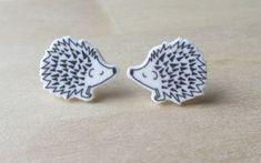 Tiny hedgehog Stud Earrings Shrinky Dink Shrink by ColorfulClay