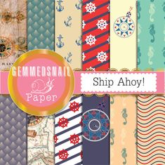 Nautical digital paper, nautical backgrounds ship ahoy! 12 nautical scrapbook papers, sea digital paper