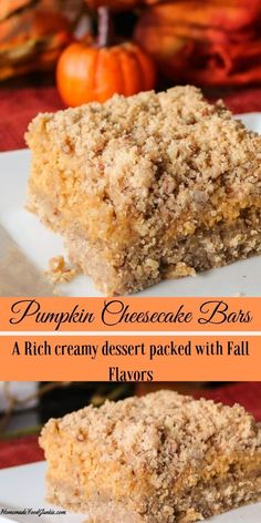 Tasty Pumpkin Cheesecake bars are layered with a nutty crust and topping and pumpkin cheesecake. A good pumpkin dessert for a Thanksgiving Holiday party, potluck or Fall family dessert. Cranberry Bliss Bars, Pumpkin Cheesecake Recipes, Pumpkin Recipes, Homemade Cheesecake, Cookie Cheesecake, Raspberry Cheesecake, Cheesecake Desserts, Fall Dessert Recipes, Fall Desserts