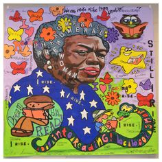 "Afterschool students completed this 60"" x 60"" Maya Angelou themed mural painting for the Media Center ~ Dec 2013"