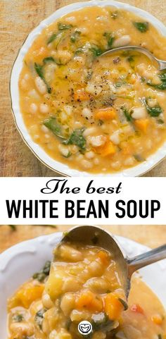 This delicious, creamy and vegan white bean soup tastes and smells amazing, it's budget-friendly and ready in 25 minutes! This delicious, creamy and vegan white bean soup tastes and smells amazing, it's budget-friendly and ready in 25 minutes! Healthy Dinner Recipes, Whole Food Recipes, Vegetarian Recipes, Cooking Recipes, Gluten Free Recipes, Health Soup Recipes, Simple Soup Recipes, Healthy Fall Soups, Vegan Bean Recipes