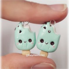Here are a couple of mint creamsicles. These were made using Sophie & Toffee's polymer clay. They are soft and really easy to work with! #polymerclaycharms #ovenbakedclay #claycharms #polymerclay #clay #clayjewelry #mint #green #cute #creamsicle #kawaii #kawaiiface #popsicle #sophie&toffee #sophieandtoffee #pastel #handmade #craft #diy # miniature #miniaturefood