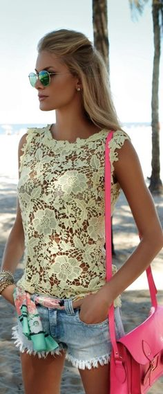 Jean cut offs, yellow lace sleeveless top, hot pink bag, pastel print scarf as belt...love this! I wd totally add a tank under the lace