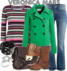 "Wear What You Watch • Kristen Bell as Veronica Mars from ""Veronica Mars""..."