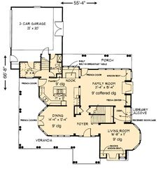 Country Craftsman House Plan 95592 Level One