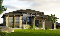 With its wide eaves and contemporary style, this Prairie Style house plan has a compelling exterior.Big windows and transoms across the front lets in plenty of light.Three steps up from the sunken foyer brings you to the main living area with its delightful open concept layout.The rear covered porch is reached through sliding glass doors in the dining area.Both bedrooms are on the left side of the home and share a large bathroom with tub and separate shower.Add an optional one car garage if…
