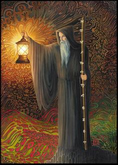 The Hermit Tarot Card IX  ~ A mini ACEO print from the original painting by Emily Balivet, 2014.    The Hermit card in the tarot represents a