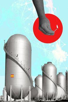 Social unrest in Spain. Editorial illustration.