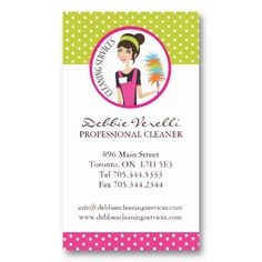 Whimsical House Cleaning Services Business Cards | House cleaning ...