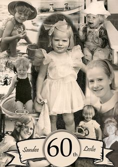 Birthday Invitation with assorted photos from baby to young woman