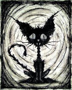 "Print 8x10"" - Black Cat 2 - Halloween Cats Stray Spooky Alley Dark Art Pets Cute Animal Creepy Gothic Art Black and White Kitty. $7.00, via Etsy."
