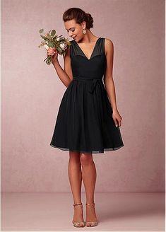 Chic Silk-like Chiffon V-neck Neckline Short A-line Bridesmaid Dress