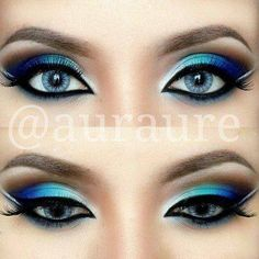 Makeup. Blue, green, silver, and black eyeshadow and eyeliner.