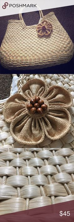 Large Wicker Tote Excellent condition.  Just lovely! Poppie Jones Bags Totes